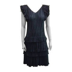 Mary McFadden 1980s Black Evening Cocktail Dress Size 4.