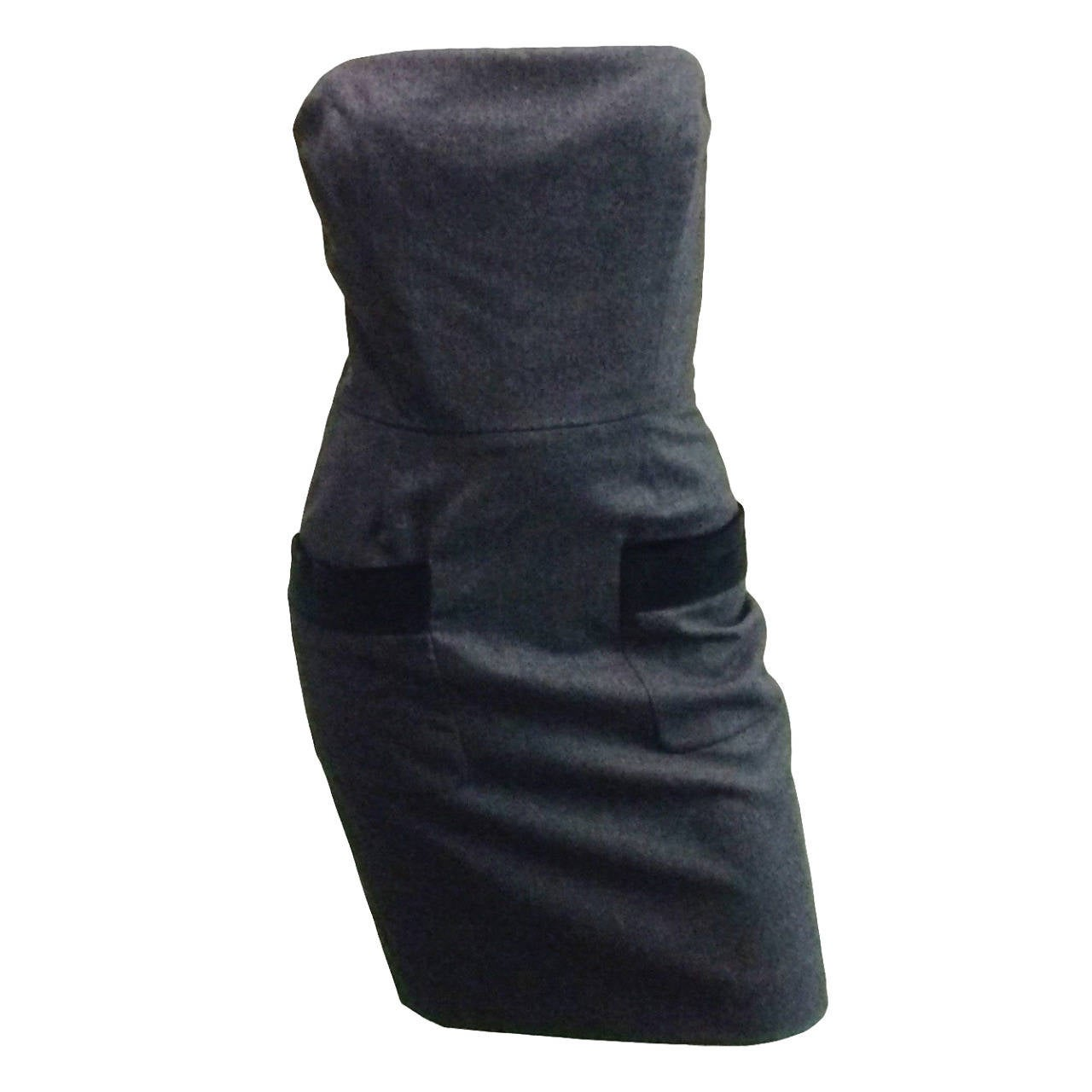 Isaac Mizrahi 90s Strapless Wool With Velvet Pocket Trim Dress At 1stdibs