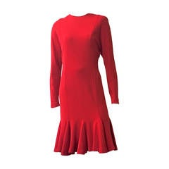 Hanae Mori Boutique for Neiman Marcus 1980s Red Wool Jersey Dress Size 6.