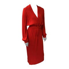 Geoffrey Beene 1960s Red Silk Maxi Dress with Pockets Size 4/6.