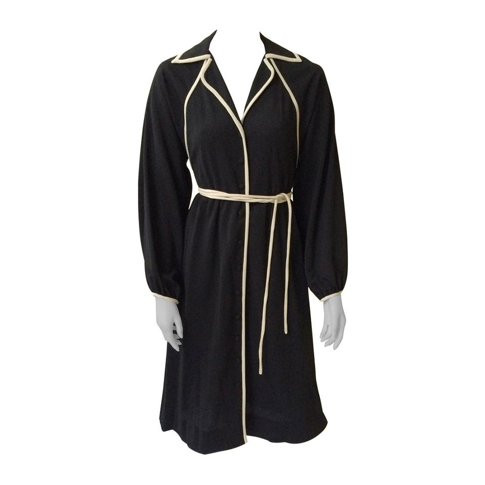 Donald Brooks 1970s Black Dress with Pockets Size 4.