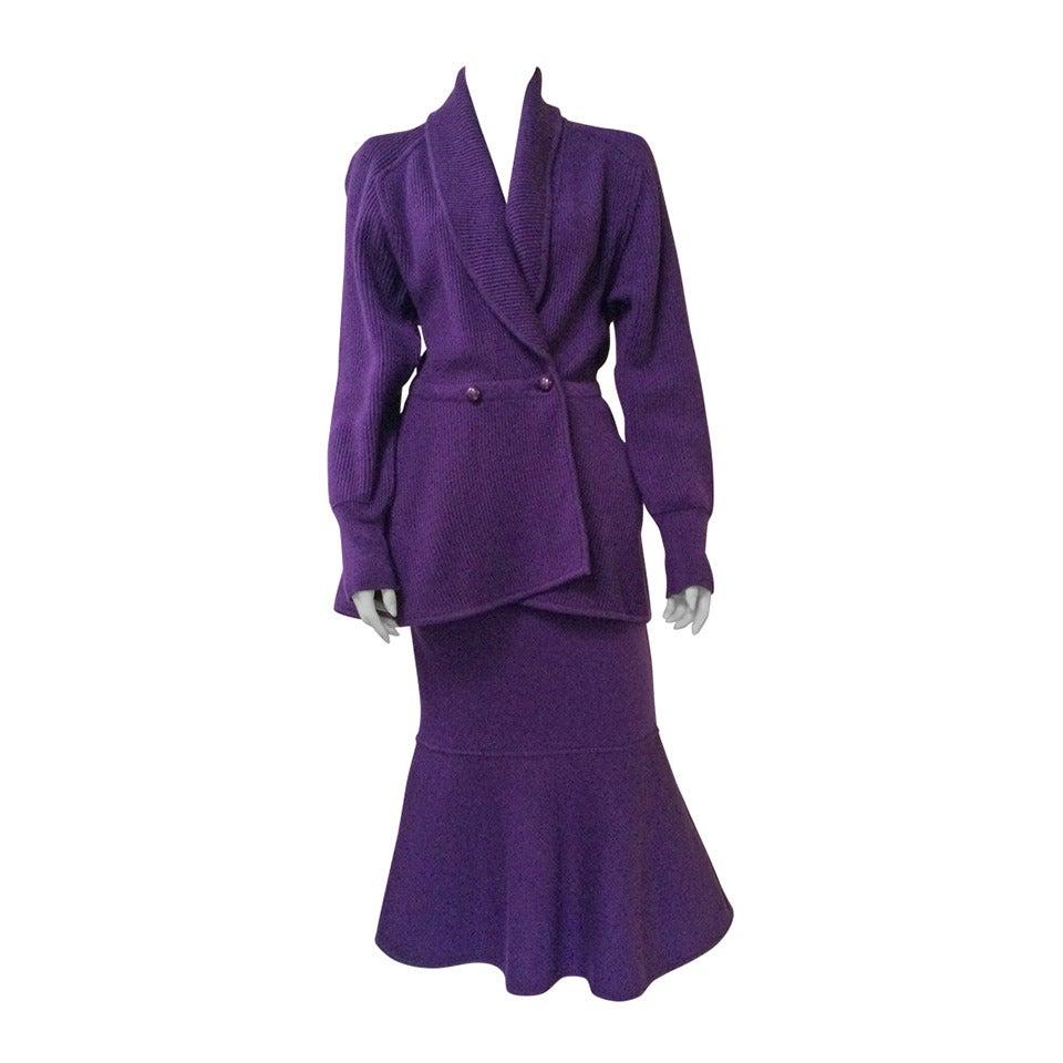 karl lagerfeld 80s 2 piece knit jacket and skirt size 4 for sale at 1stdibs. Black Bedroom Furniture Sets. Home Design Ideas