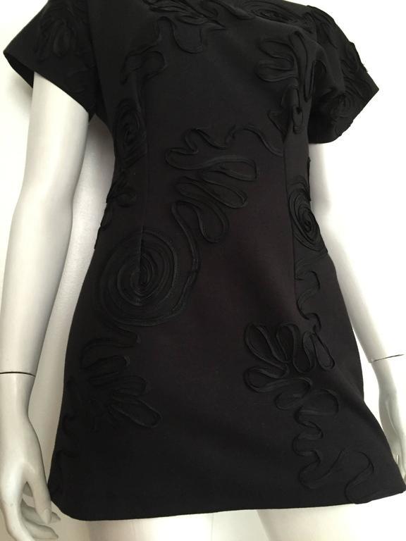 Leo Narducci Cotton Black Mini Dress, Size 4  3