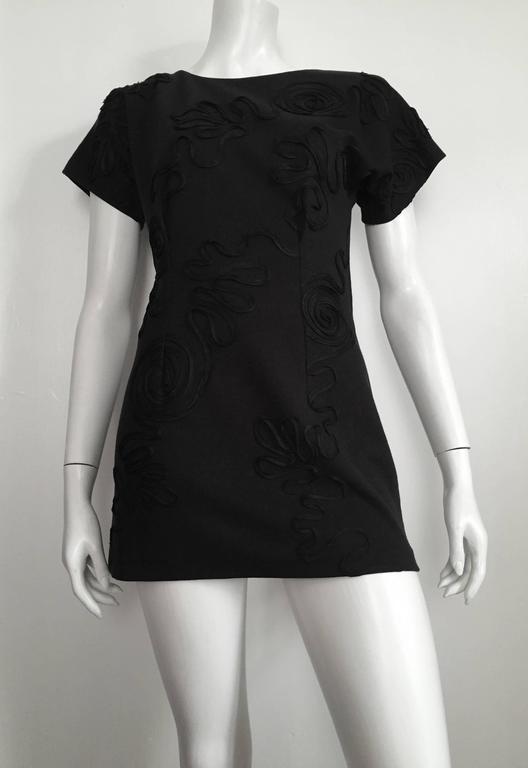 Leo Narducci Cotton Black Mini Dress, Size 4  10
