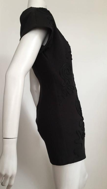 Leo Narducci Cotton Black Mini Dress, Size 4  4
