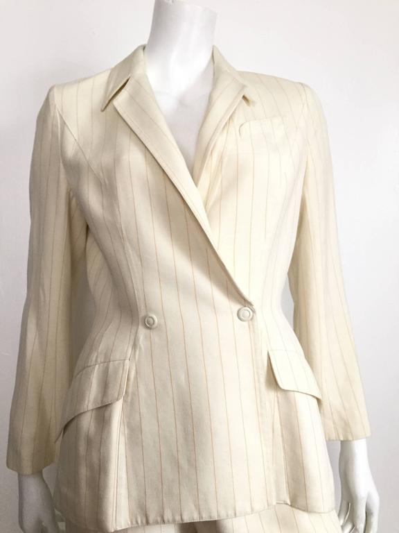 Thierry Mugler 80s striped cream linen suit size 6. 2