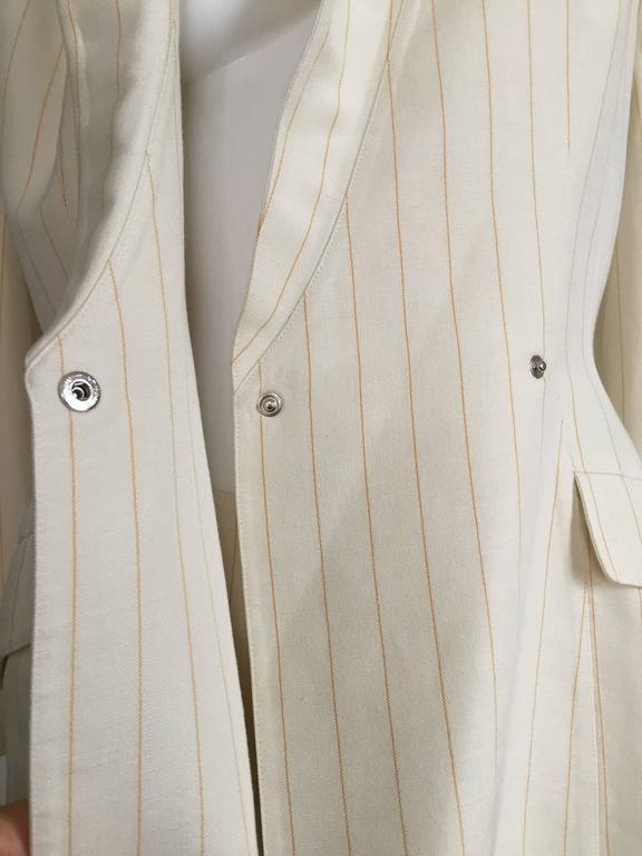 Thierry Mugler 80s striped cream linen suit size 6. 4