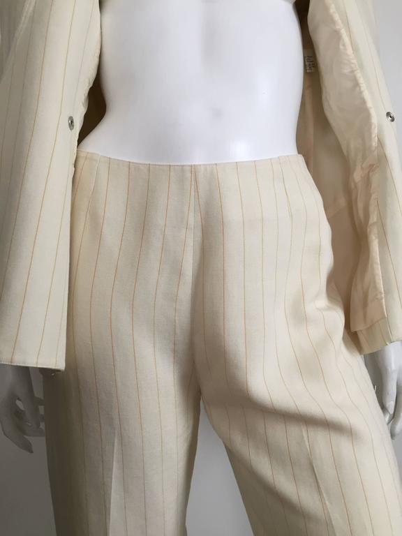 Thierry Mugler 80s striped cream linen suit size 6. 5