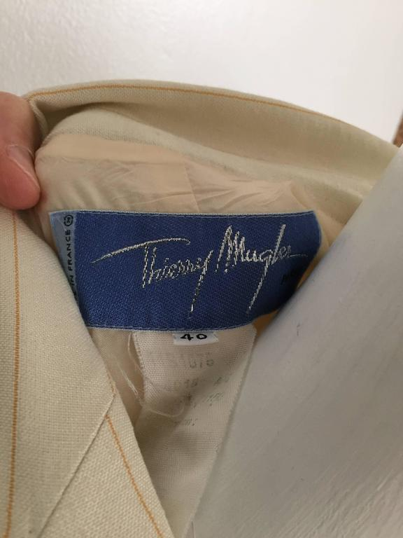 Thierry Mugler 80s striped cream linen suit size 6. 9