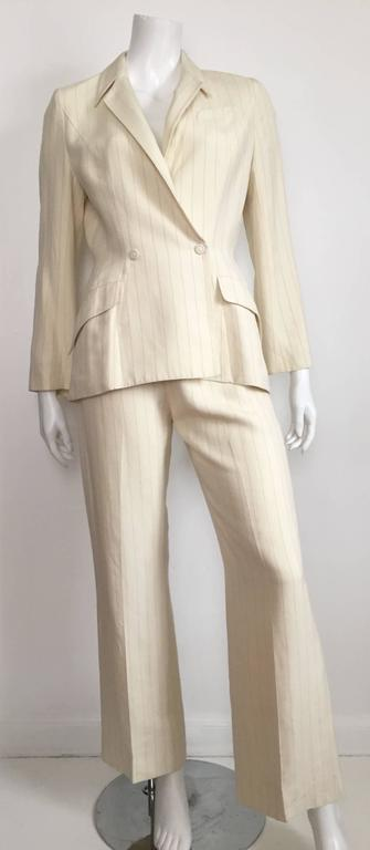 Thierry Mugler 80s striped cream linen suit size 6. 10