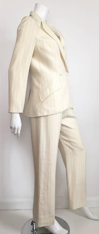 Thierry Mugler 80s striped cream linen suit size 6. 6