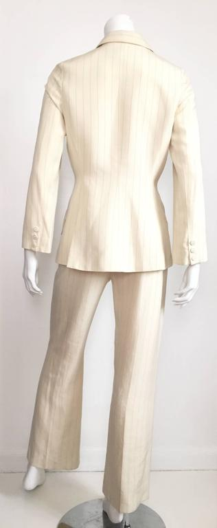 Thierry Mugler 80s striped cream linen suit size 6. 7