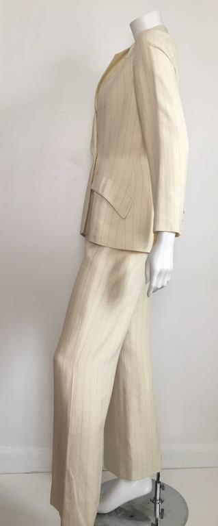 Thierry Mugler 80s striped cream linen suit size 6. 8