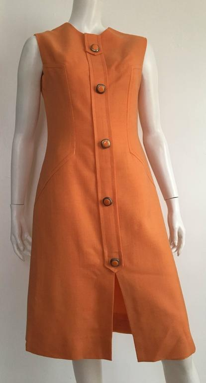 Anne Sorrente 60s Orange Wool Sleeveless Dress Size 8. 9