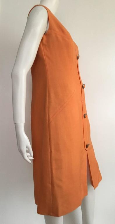 Anne Sorrente 60s Orange Wool Sleeveless Dress Size 8. 4