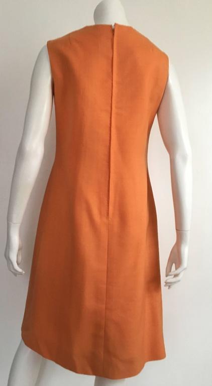 Anne Sorrente 60s Orange Wool Sleeveless Dress Size 8. 5