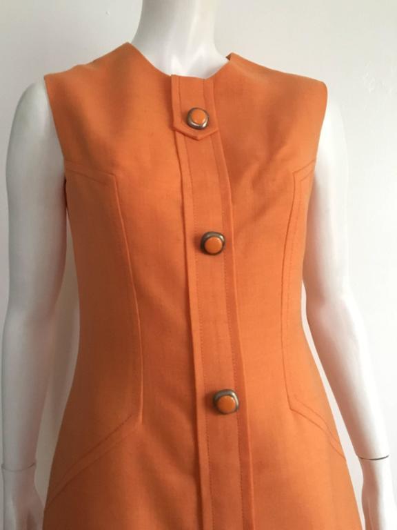 Anne Sorrente 60s Orange Wool Sleeveless Dress Size 8. 2