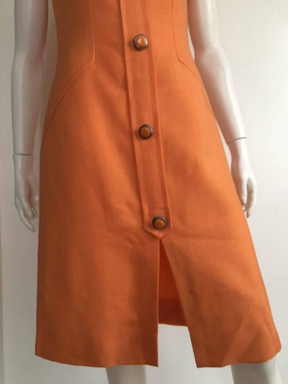 Anne Sorrente 60s Orange Wool Sleeveless Dress Size 8. 3