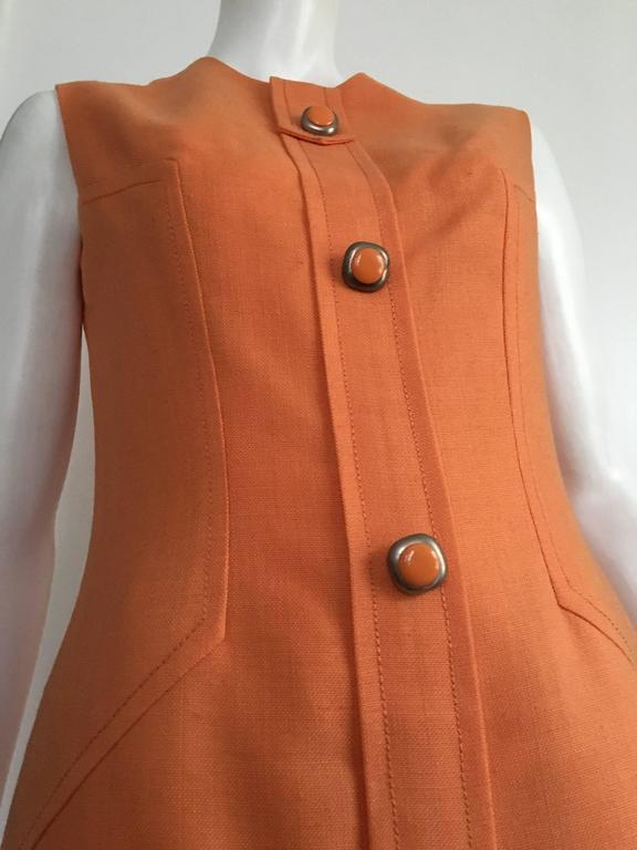 Anne Sorrente 60s Orange Wool Sleeveless Dress Size 8. 6