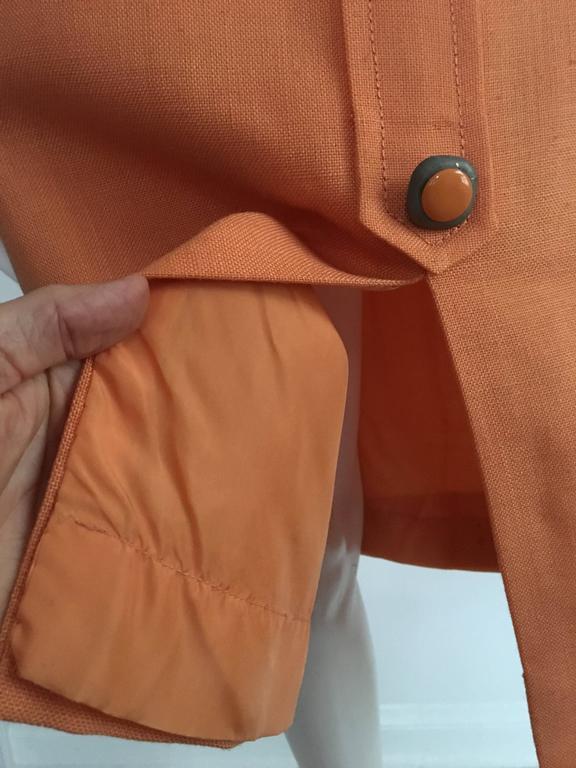 Anne Sorrente 60s Orange Wool Sleeveless Dress Size 8. 7