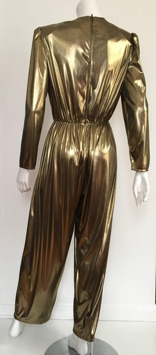 Gold 80s Lame Jumpsuit Size 6 At 1stdibs