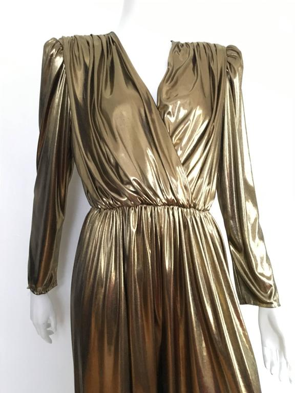 Gold 1980s Lame Jumpsuit By Filigree Is A Vintage Size 10 But Fits Like Modern