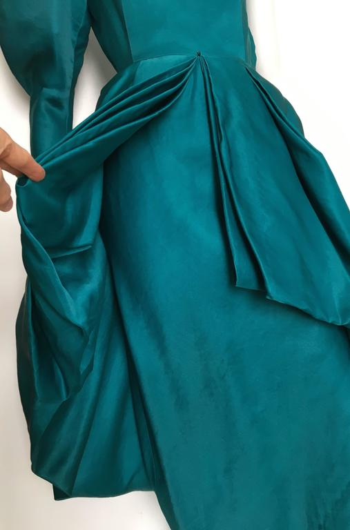 Blue Tan Giudicelli 80s Silk Evening Gown Size 4. For Sale