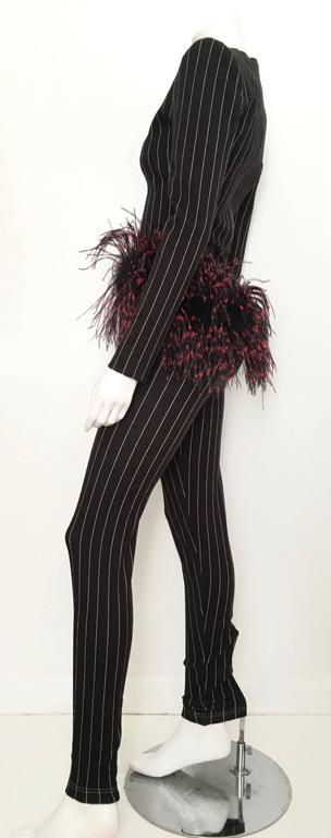 Patrick Kelly Paris 1987 Feather Trim Jacket & Pants Size 4. 2