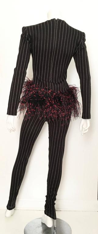 Patrick Kelly Paris 1987 Feather Trim Jacket & Pants Size 4. 3