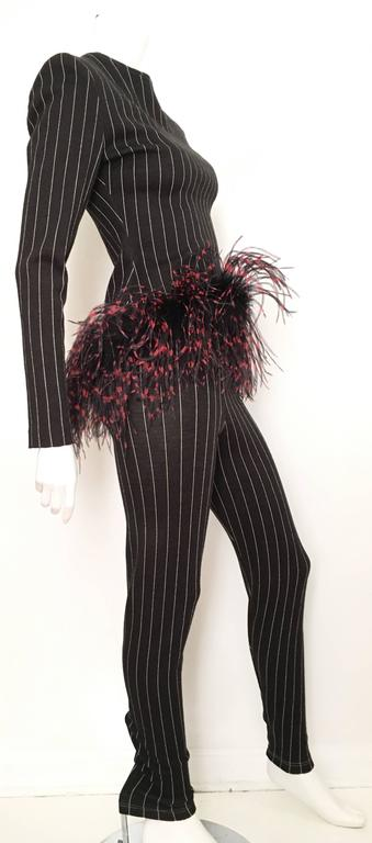 Patrick Kelly Paris 1987 Feather Trim Jacket & Pants Size 4. 4