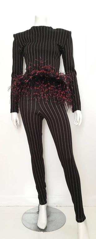 Patrick Kelly Paris 1987 Feather Trim Jacket & Pants Size 4. 10