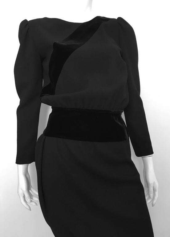 Valentino Boutique 80s Black Wool Crepe Dress Size 6. 2