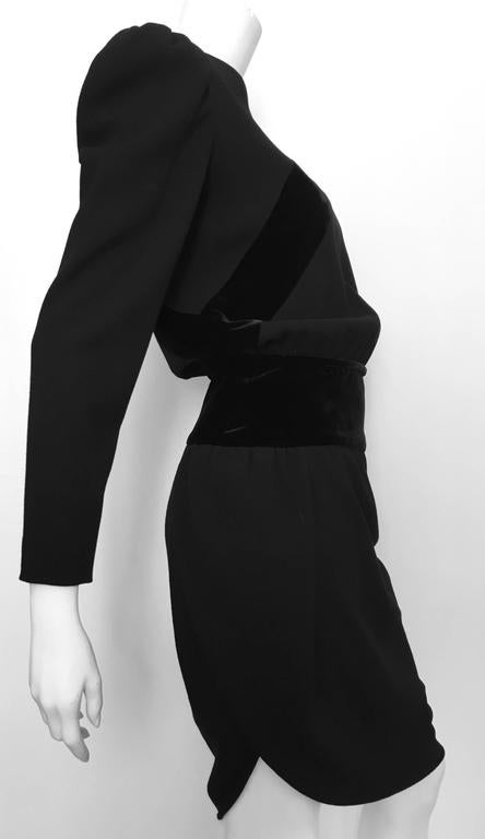 Valentino Boutique 80s Black Wool Crepe Dress Size 6. 3