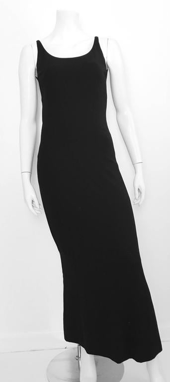 Chanel Maxi Black Wool Sleeveless Dress Size 6  For Sale 4