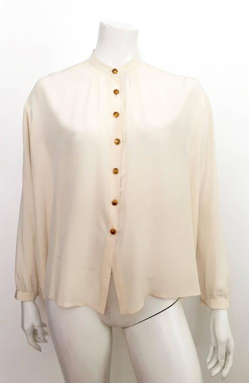 Yves Saint Laurent 90s Silk Blouse Size 6. 8