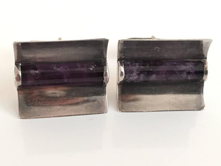Taxco Sterling Silver & Amethyst Modern Design Cufflinks.  For Sale 5