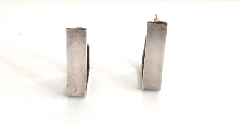 Alfred Karram 1970s modern angular sterling silver earrings. 