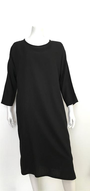 Geoffrey Beene Black Linen Dress With Pockets Size 12. 8