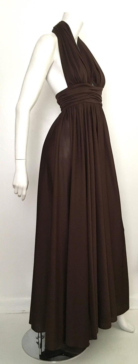 Frank Usher Brown Halter Gown Size 4. For Sale at 1stdibs