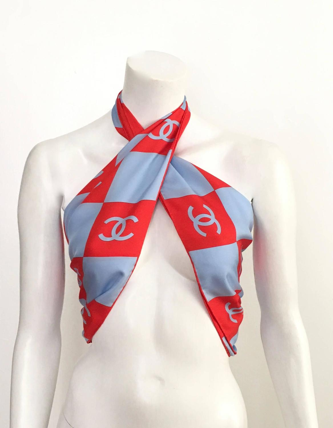chanel checkerboard silk scarf for sale at 1stdibs