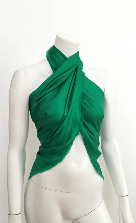 e8298ac54c121 Women's or Men's Yves Saint Laurent Emerald Green Silk Large Scarf.