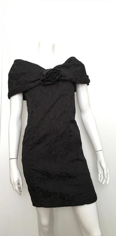 Dior 1980s Black Silk Evening Dress Size 6. For Sale 5