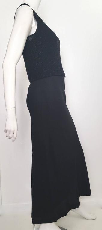 Donna Karan Black Silk Minimal Bias-Cut Gown Size 4.  3