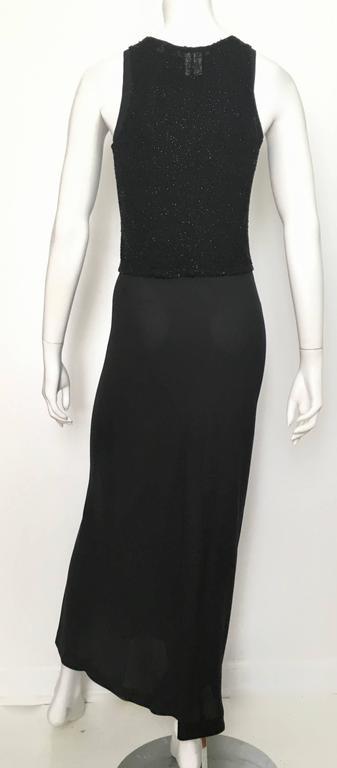 Donna Karan Black Silk Minimal Bias-Cut Gown Size 4.  4