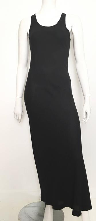 Donna Karan Black Silk Minimal Bias-Cut Gown Size 4.  7
