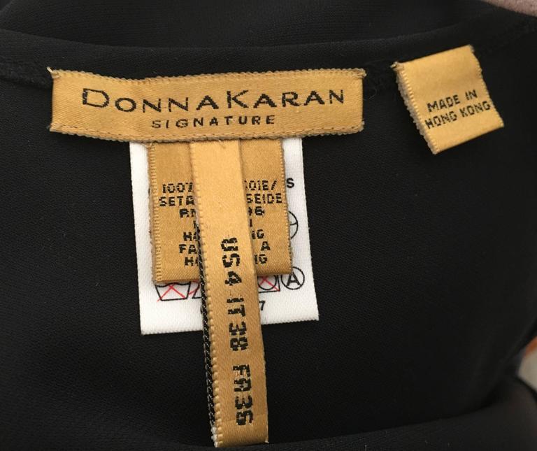 Donna Karan Black Silk Minimal Bias-Cut Gown Size 4.  8