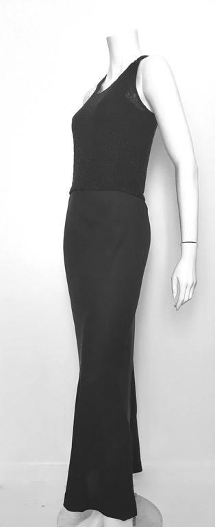 Donna Karan Black Silk Minimal Bias-Cut Gown Size 4.  9