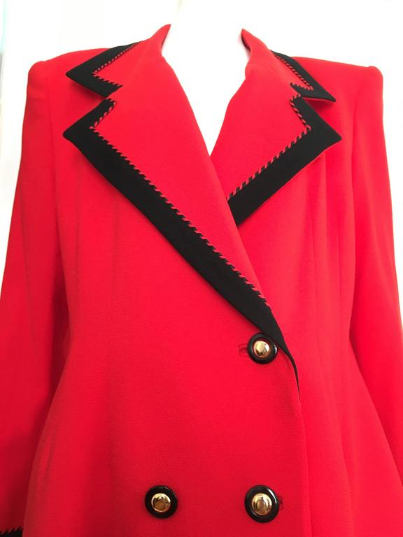 Lilli Ann 1980s Red Wool Coat Size Large. 2