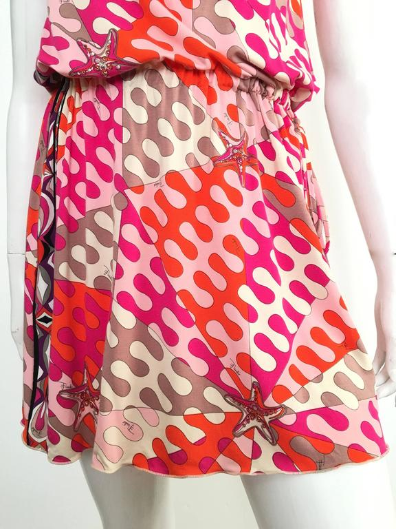 Pink Emilio Pucci Starfish Off The Shoulder Dress Size 6.  For Sale