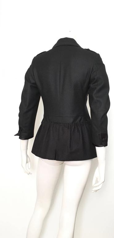 93c731c1a6b0 Miu Miu Black Wool Silk Trim Peplum Jacket Size 4. In Excellent Condition  For Sale